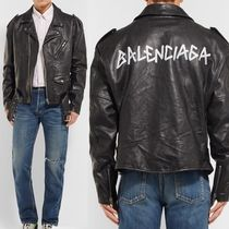 BALENCIAGA Street Style Plain Leather Oversized Biker Jackets