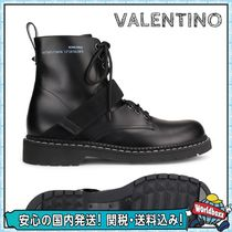 VALENTINO Plain Toe Studded Plain Leather Boots