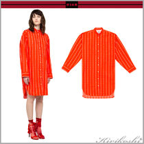 MSGM Stripes Casual Style Long Sleeves Cotton Long Oversized