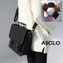 ASCLO Unisex Street Style A4 Plain Leather