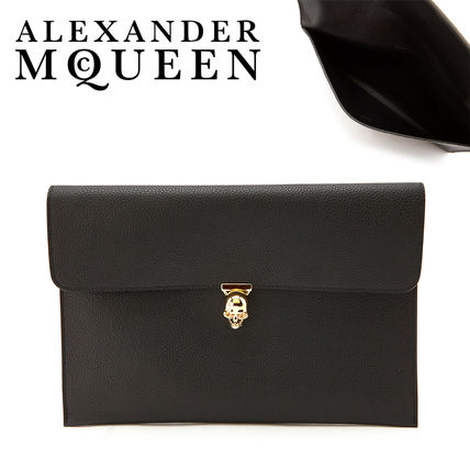 Skull Casual Style Unisex Plain Leather Clutches