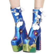 DOLLS KILL Flower Patterns Star Platform Plain Toe Lace-up Casual Style