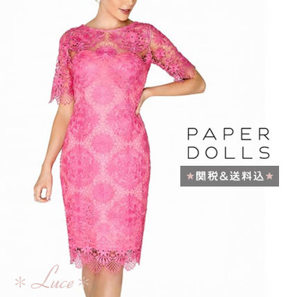 Tight Medium Short Sleeves Party Style Lace Dresses