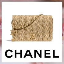CHANEL Canvas 2WAY Chain Plain Elegant Style Clutches