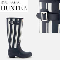 HUNTER Stripes Casual Style Plain Flat Boots