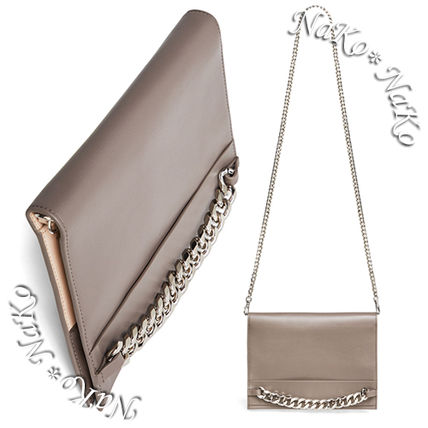 Blended Fabrics Chain Plain Leather Long Wallets