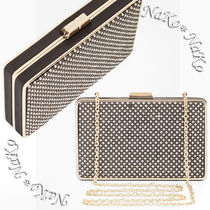 BCBG MAXAZRIA Blended Fabrics 2WAY Chain Party Style With Jewels Clutches