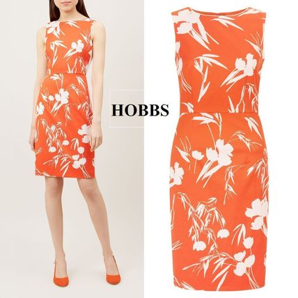 Flower Patterns Sleeveless U-Neck Medium Dresses