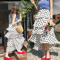 Flared Skirts Dots Casual Style Long Maxi Skirts