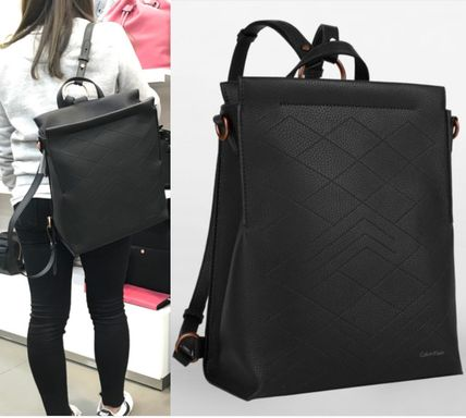 Casual Style Faux Fur Street Style A4 2WAY Plain Backpacks
