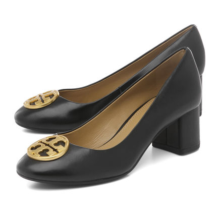 9c6046cdd5bd08 ... Tory Burch More Pumps   Mules Plain Toe Plain Leather Elegant Style  Chunky Heels ...