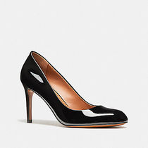 Coach Round Toe Enamel Plain High Heel Pumps & Mules