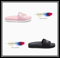 BUSCEMI Open Toe Rubber Sole Casual Style Blended Fabrics Plain