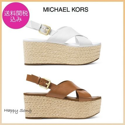 Michael Kors Platform & Wedge Open Toe Platform Casual Style Plain Leather