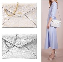 Michael Kors BARBARA Flower Patterns 2WAY Chain Leather Elegant Style Clutches