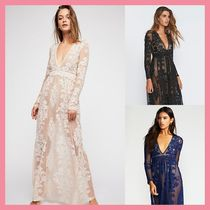 Free People Flower Patterns Maxi V-Neck Long Sleeves Long Party Style