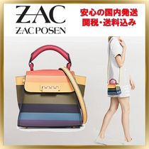 ZAC ZAC POSEN Stripes 2WAY Leather Elegant Style Shoulder Bags