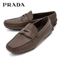 PRADA Driving Shoes Plain Leather Loafers & Slip-ons