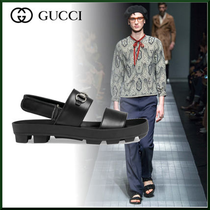 5e27f4ddadc ... GUCCI More Sandals Street Style Plain Leather Sandals ...