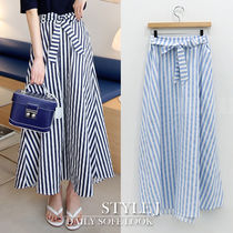 Stripes Casual Style Cotton Long Maxi Skirts