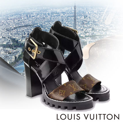 c1bf8d385a8 ... Louis Vuitton Heeled Open Toe Block Heels Elegant Style Heeled Sandals  ...