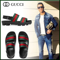 GUCCI Stripes Blended Fabrics Leather Sandals