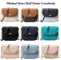 Michael Kors Monogram Chain Plain Leather Elegant Style Shoulder Bags