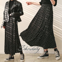 DAILYMONDAY Dots Casual Style Pleated Skirts Long Maxi Skirts