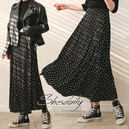 Dots Casual Style Pleated Skirts Long Maxi Skirts