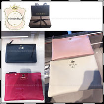 GUCCI Plain Leather Party Style Clutches