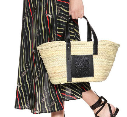 Casual Style Unisex Calfskin Blended Fabrics Straw Bags