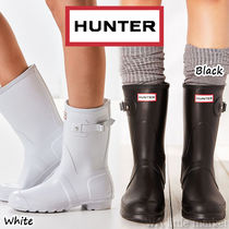 HUNTER Round Toe Casual Style Plain Block Heels Flat Boots