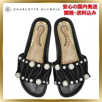 Charlotte Olympia Open Toe Rubber Sole Plain Leather Elegant Style