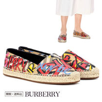 Burberry Other Check Patterns Open Toe Casual Style Blended Fabrics