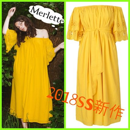 Casual Style Flared Plain Cotton Long Dresses