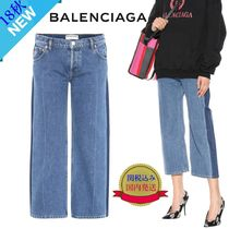 BALENCIAGA Casual Style Denim Bi-color Plain Medium Wide & Flared Jeans