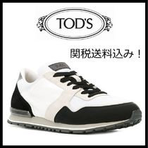TOD'S Blended Fabrics Bi-color Plain Leather Sneakers