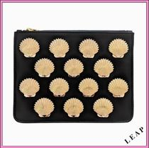 Poppy Lissiman Tropical Patterns Casual Style Faux Fur Studded Clutches