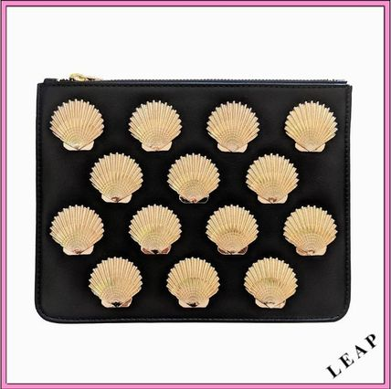 Tropical Patterns Casual Style Faux Fur Studded Clutches