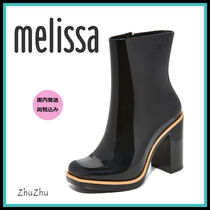 Melissa Round Toe Casual Style Plain Block Heels PVC Clothing