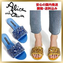 Alice+Olivia Open Toe Rubber Sole Plain Shower Shoes With Jewels