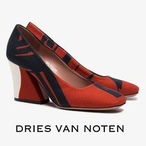 Dries Van Noten Square Toe Elegant Style Chunky Heels