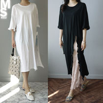 Casual Style U-Neck Plain Cotton Long Short Sleeves Midi