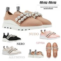 MiuMiu Rubber Sole Casual Style Plain With Jewels Low-Top Sneakers