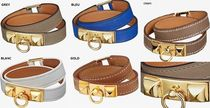 HERMES Costume Jewelry Leather Office Style Bracelets