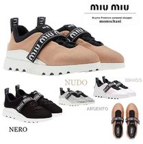 MiuMiu Rubber Sole Casual Style Plain Low-Top Sneakers
