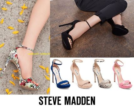 19e13b56f823 ... Steve Madden Heeled Open Toe Plain Leather Pin Heels Party Style Heeled  Sandals ...