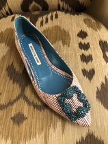 Manolo Blahnik Stripes Platform Blended Fabrics Leather With Jewels