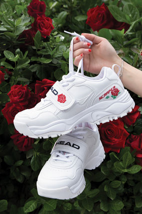 Flower Patterns Casual Style Plain Low-Top Sneakers