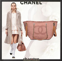 CHANEL ICON Canvas A4 3WAY Chain Plain Elegant Style Totes